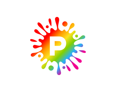 P Letter Splash Logo Icon Design