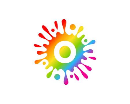 O Letter Splash Logo Icon Design Ilustração