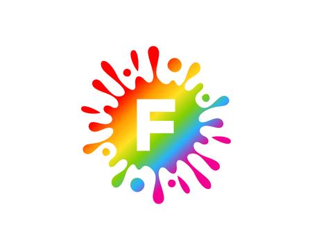F Letter Splash Logo Icon Design