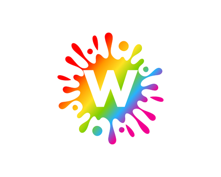 W Letter Splash Logo Icon Design Çizim