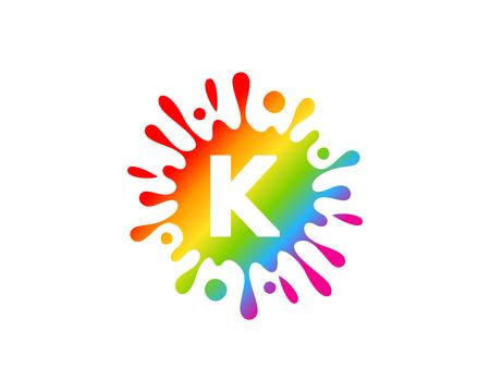 K Letter Splash Logo Icon Design