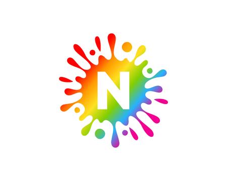 N Letter Splash Logo Icon Design