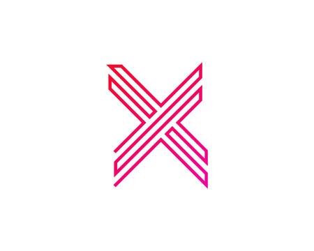 X Line Letter Logo Icon Design 向量圖像