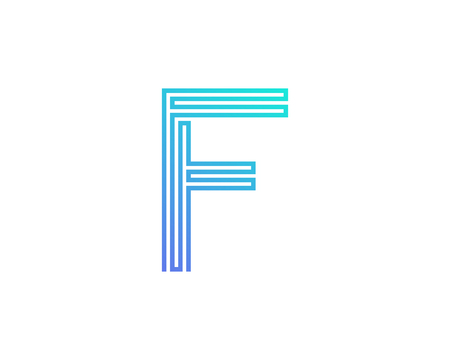 F Line Letter Logo Icon Design Illustration