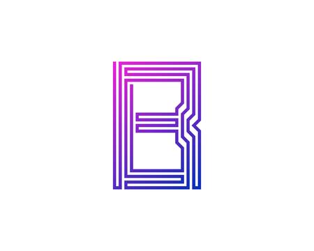 B Line Letter Logo Icon Design Illustration