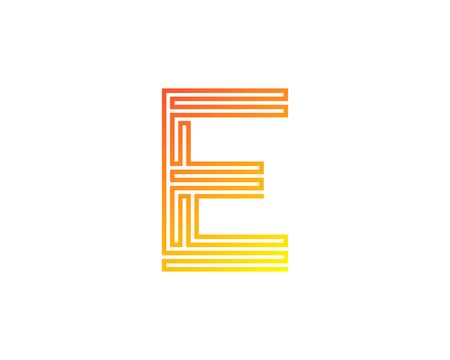 E Line Letter Logo Icon Design  イラスト・ベクター素材