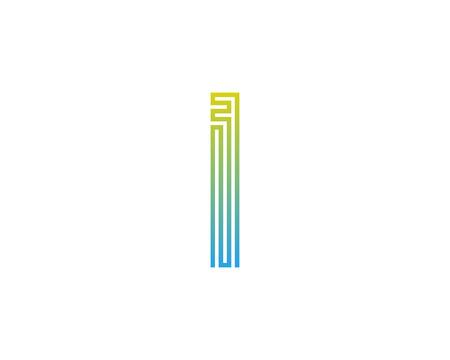 Conception d'icône logo lettre I ligne