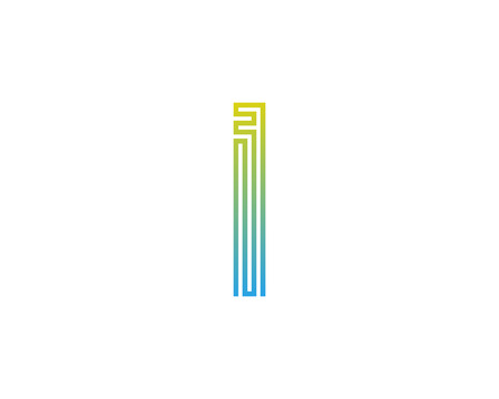 I Line Letter Logo Icon Design Illustration