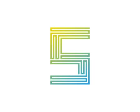 S Line Letter Logo Icon Design Ilustração