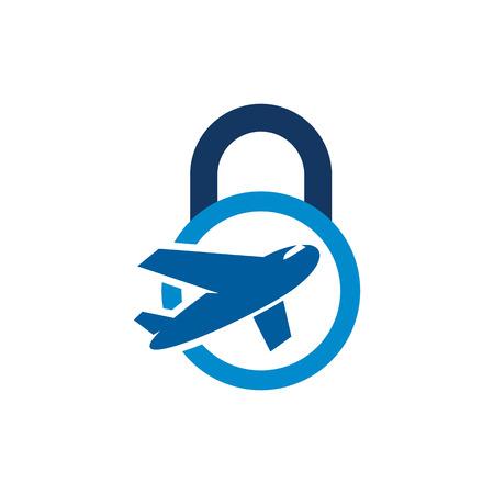 Travel Lock Logo Icon Design Illustration