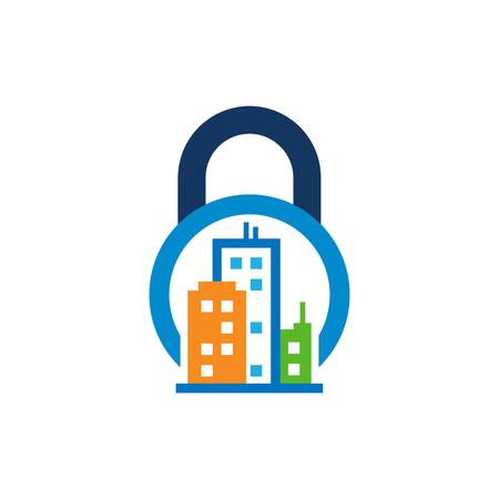 Town Lock Logo Icon Design Stock Illustratie
