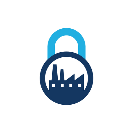 Factory Lock Logo Icon Design Ilustrace