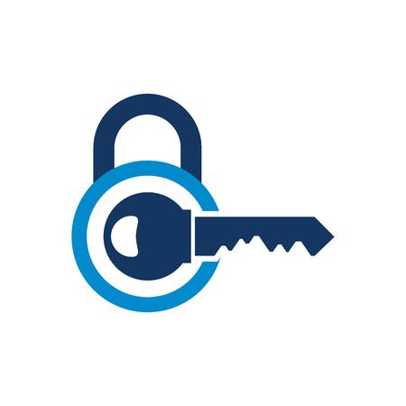 Conception d & # 39; icône de logo de verrouillage à clé