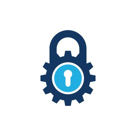 Gear Lock Logo Icon Design