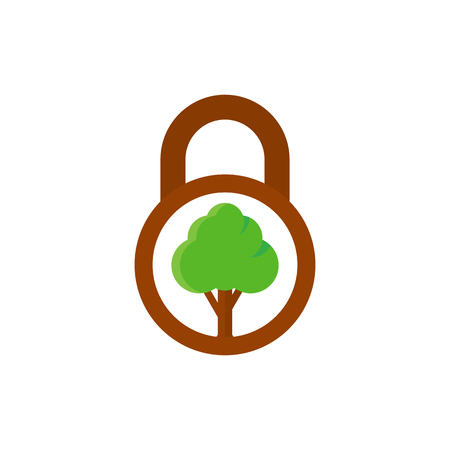 Tree Lock Logo Icon Design