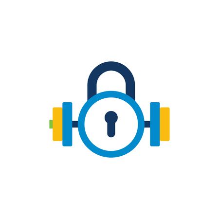Barbell Lock Logo Icon Design Illustration