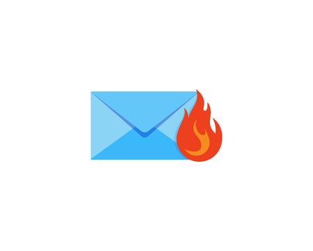 Fire Mail Icon Logo Design Element