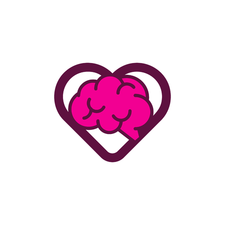 Brain Love Logo Icon Design Ilustrace