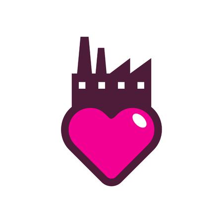 Factory Love Logo Icon Design