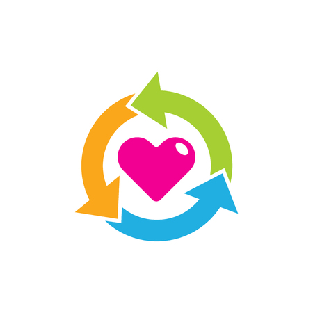 Recycle Love Logo Icon Design