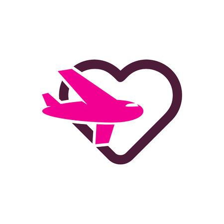 Travel Love Logo Icon Design 向量圖像
