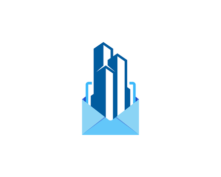Building Mail Icon Logo Design Element