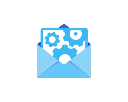 Gear Mail Icon Logo Design Element