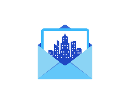 Town Mail Icon Logo Design Element