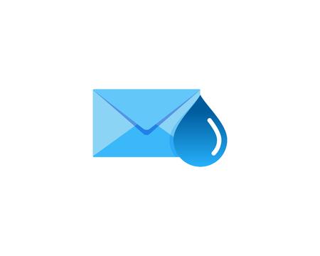 Water Mail Icon Logo Design Element Foto de archivo - 101700193
