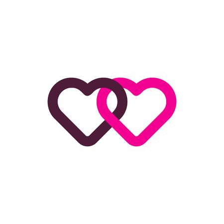 Connect Love Logo Icon Design Illustration