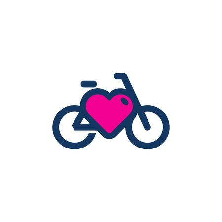 Bike Love Logo Icon Design Illustration