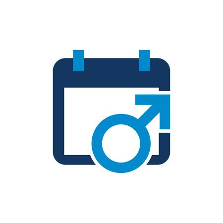 Calendar Male Man Logo Icon Design