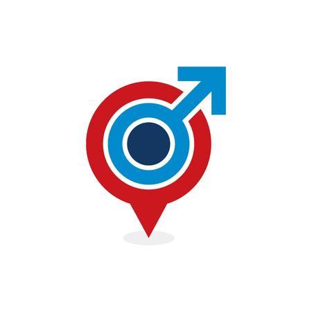 Pushpin Male Man Logo Icon Design