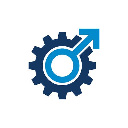 Gear Male Man Logo Icon Design