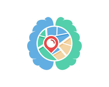 Brain Map Logo Icon Design