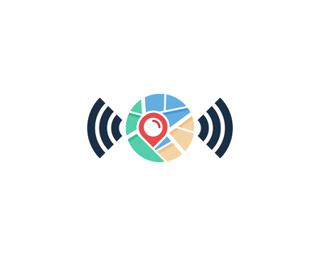 Wifi Map Logo Icon Design Ilustrace