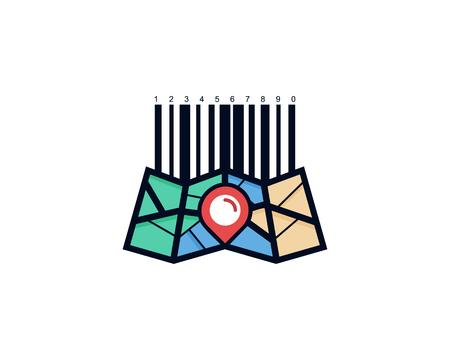 Barcode Map Logo Icon Design