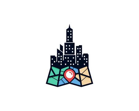 Town Map Logo Icon Design Stock Illustratie