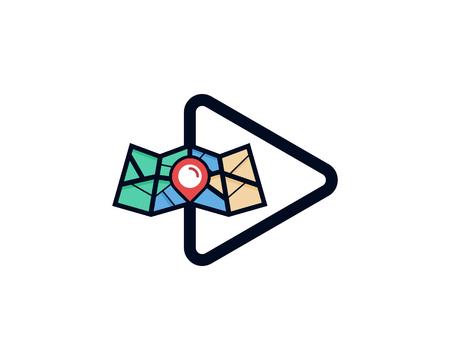 Video Map Logo Icon Design
