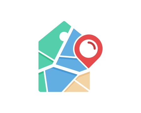 Tag Map Logo Icon Design Vettoriali