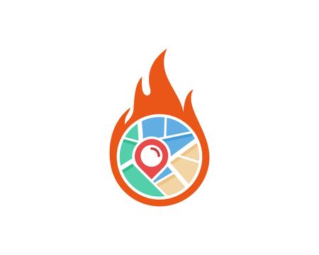 Fire Map Logo Icon Design