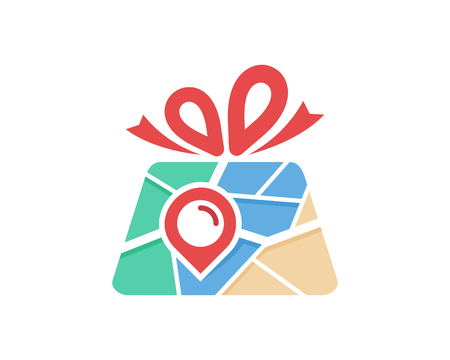 Ribbon Map Logo Icon Design