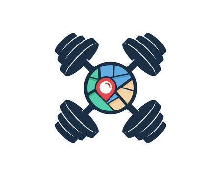 Barbell Map Logo Icon Design Illustration