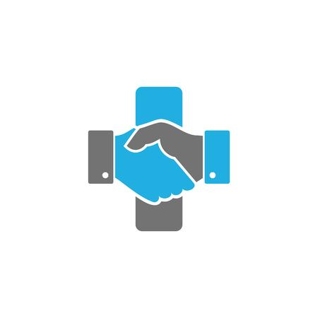 Handshake Medical Logo Icon Design Illustration