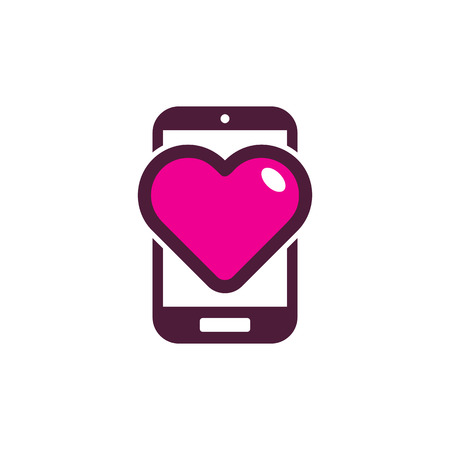 Love Mobile Phone Logo Icon Design 일러스트