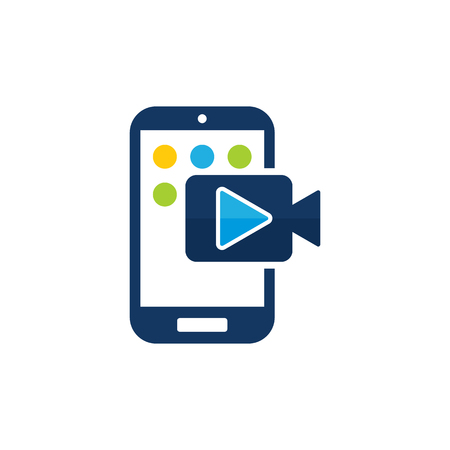Video Mobile Phone Logo Icon Design Illustration