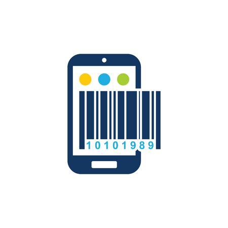 Barcode Mobile Phone Logo Icon Design