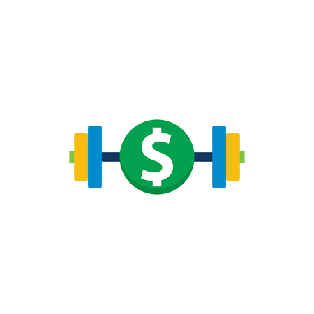 Barbell Money Logo Icon Design Illustration