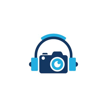 Camera Music Logo Icon Design Illustration