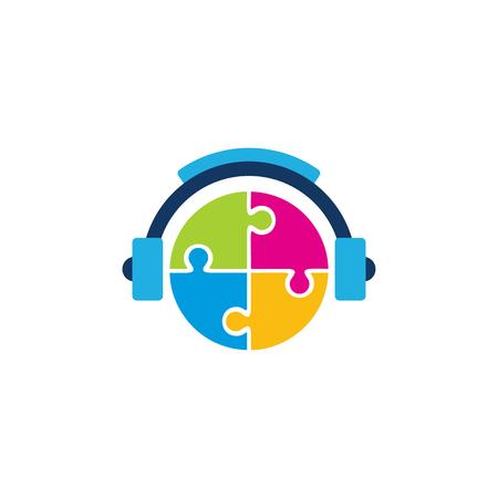 Puzzle Music Logo Icon Design